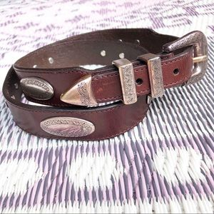 Vintage Boho Brown Leather Belt silver Concho